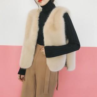 新款韩版仿獭兔毛短毛仿皮草马甲背心女丝带短款显瘦外套马夹坎肩