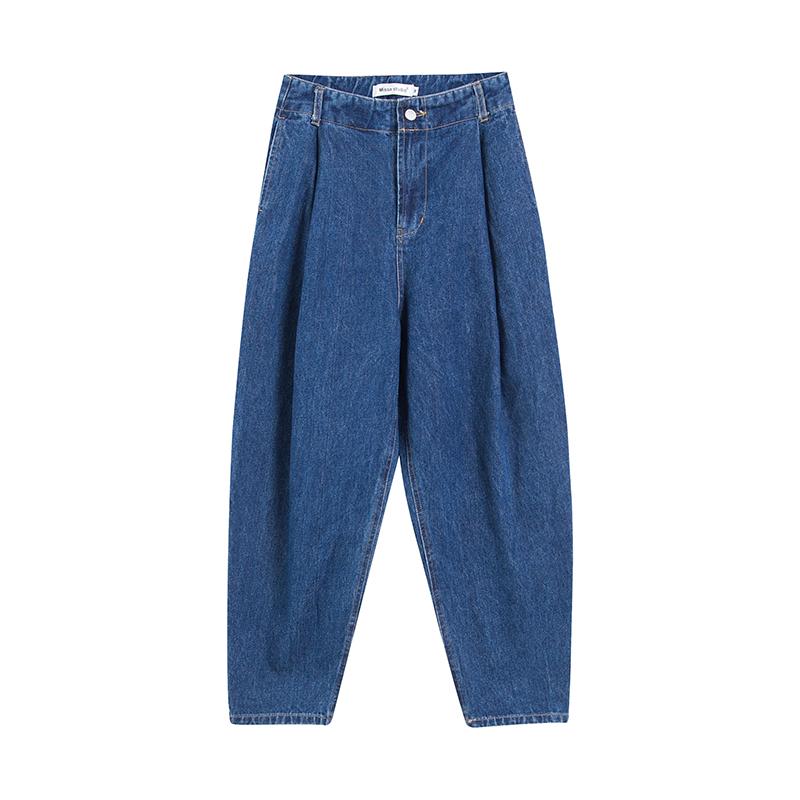 2018夏季新款大码牛仔裤女胖mm显瘦宽松高腰阔腿裤200斤长裤百搭