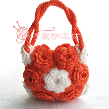 Hand-made hook-wrapped peony connects collision color three-dimensional flower-wrapped national style lady handbag high-grade gift bag