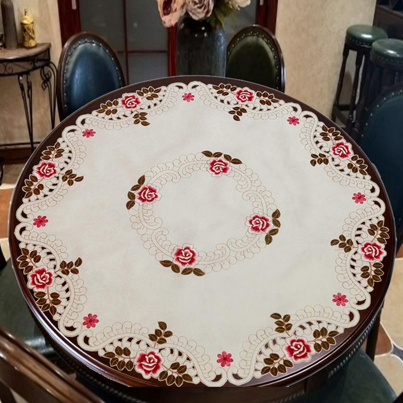 大圆桌布布艺欧式美式中式圆形刺绣花镂空餐桌垫茶几盖巾家用台布