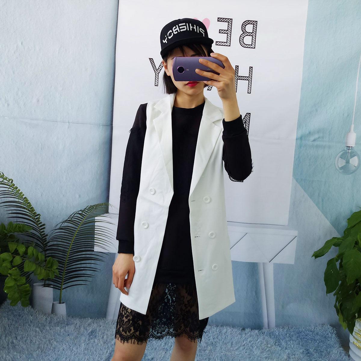 J10 2018新品女装韩版长款马甲女双排扣显瘦无袖西服外套百搭