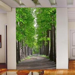 臻心家居 3D延伸空间玄关走廊墙纸清自然风景新绿色林荫树林