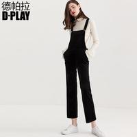 DPLAY2018春新品欧美黑色丝绒背带裤休闲连体裤直筒阔腿裤