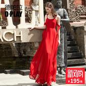 红色长裙雪纺裙吊带连衣裙开叉度假沙滩裙礼服裙 DPLAY德帕拉夏款