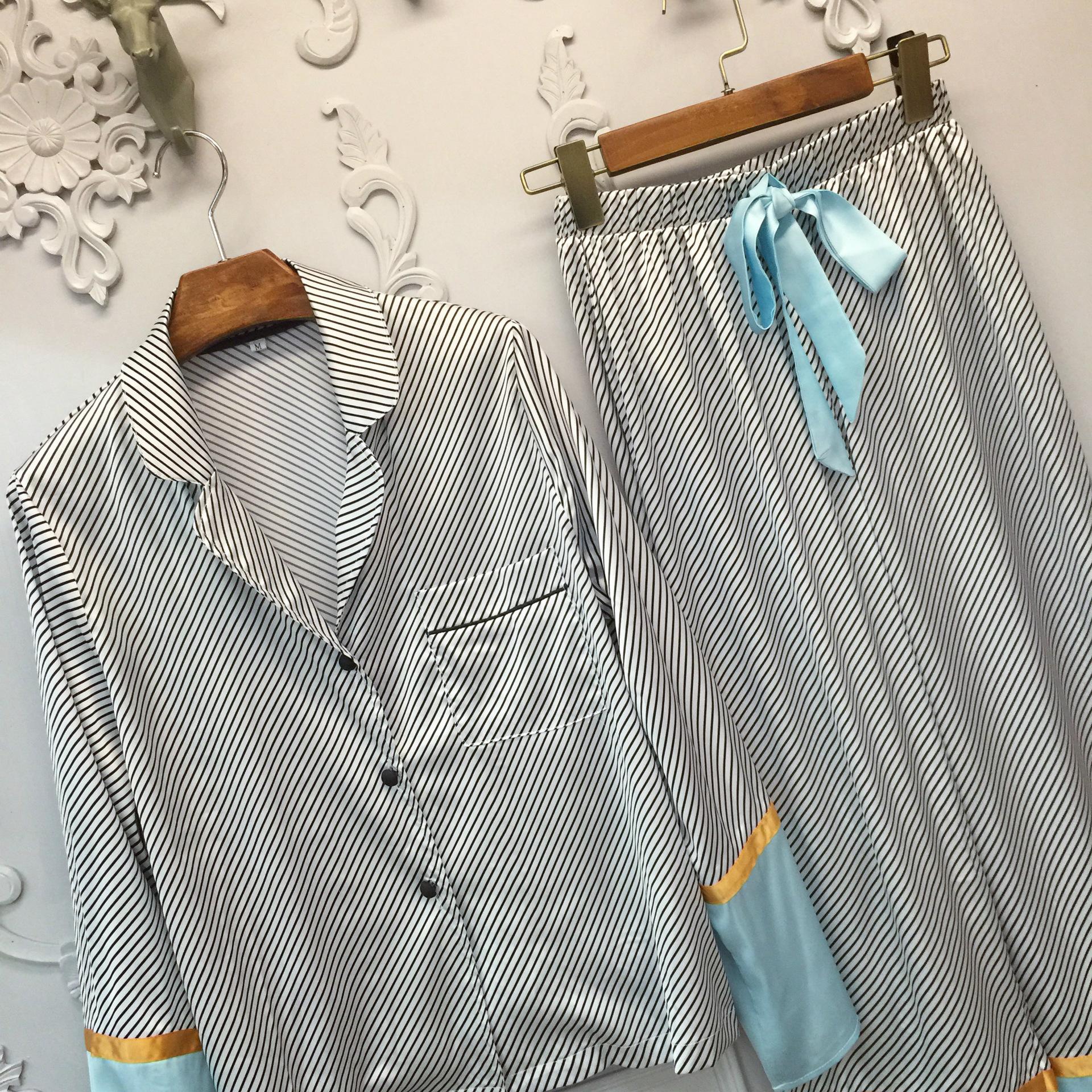 港味十足睡衣风套装真丝衬衫翻领睡衣两件套女秋季长袖休闲家居服