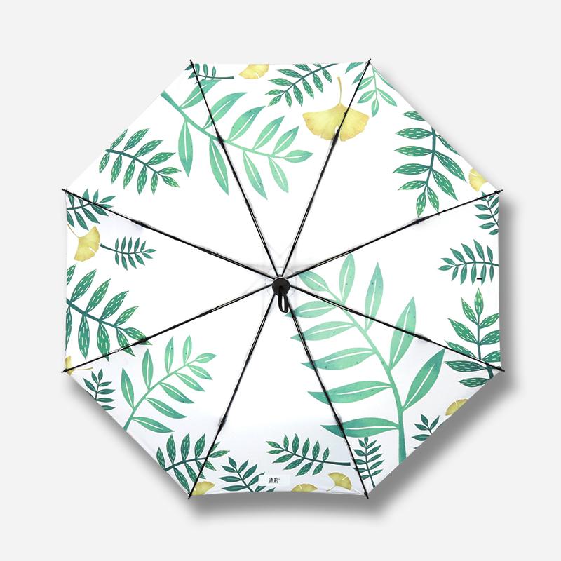 手绘树叶伞太阳伞两用晴雨伞女超轻小防晒防紫外线韩版折叠遮阳伞5元优惠券