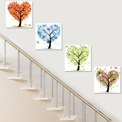 小清新挂画简约现代幸福树走廊过道餐厅墙壁画发财树楼梯装饰画