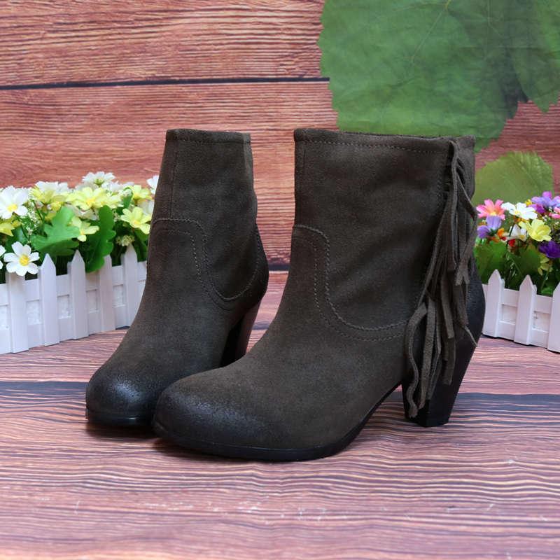 牛反绒流苏女靴