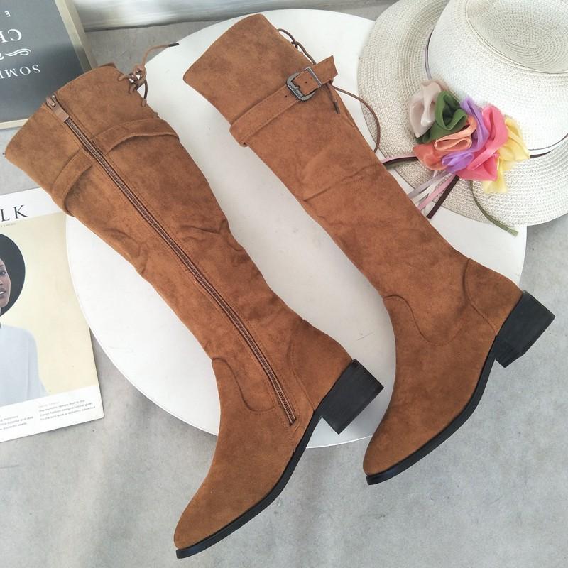 不退不换 棕色拉链长靴女皮扣时尚百搭骑士靴女鞋高筒靴
