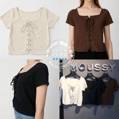 moussy专柜代购 19春夏 系带方领正反两穿T恤上衣女010CSK80-1130