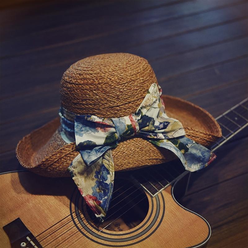 复古腔调圆顶卷边拉菲草遮阳帽包边蝴蝶结春夏季女士可爱百搭帽子1元优惠券