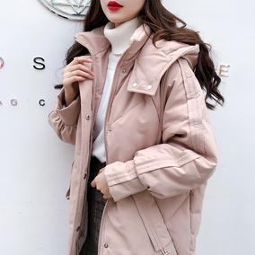chic羽绒棉服女中长款冬装2018新款面包服宽松加厚棉袄棉衣外套