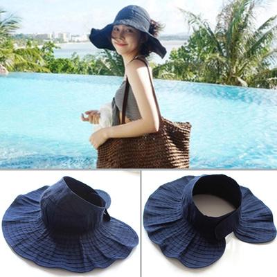 夏季女帽子随意折叠韩版卷卷空顶帽遮阳布帽百搭太阳帽防紫外线