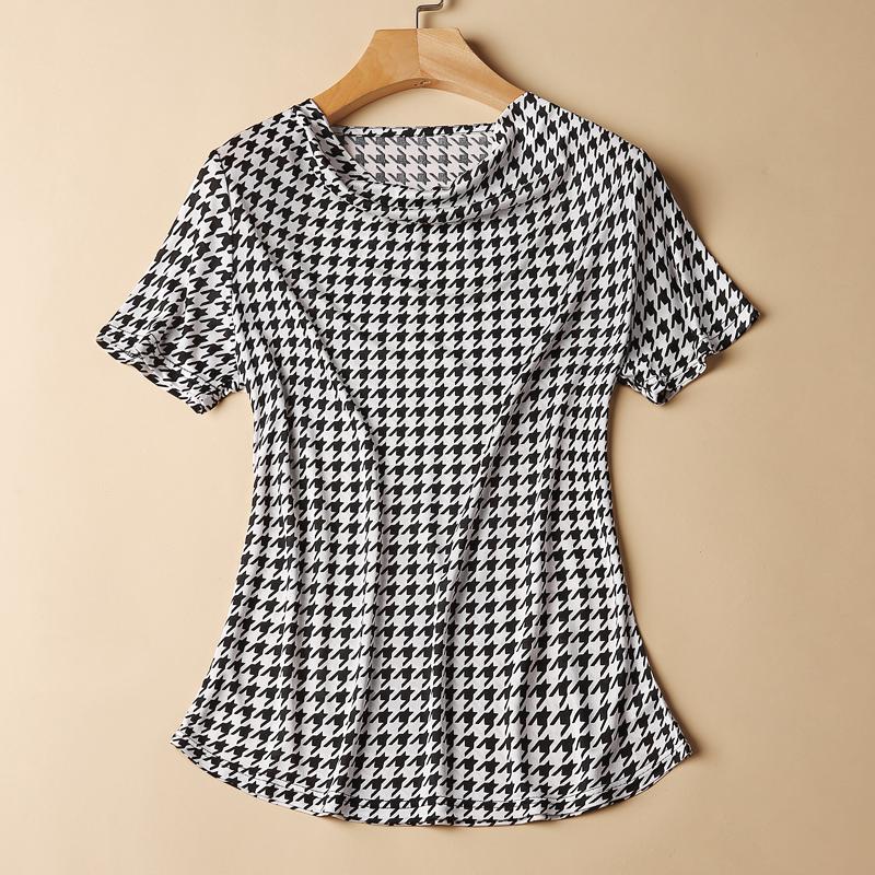 真丝印花短袖上衣2018春夏新款荡领堆堆领大码衬衫桑蚕丝针织T恤