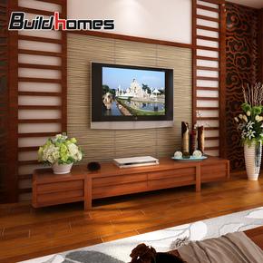 筑家东南亚风格家具实木电视柜槟榔色新中式电视机柜北美白蜡木