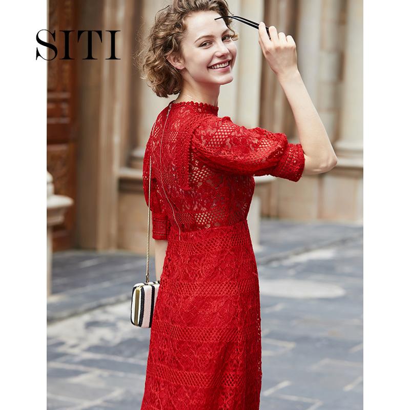 红色长裙欧美