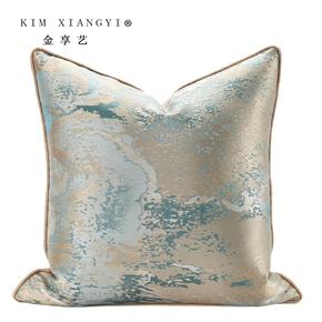 新品现代简美抽象绸缎蓝色抱枕高端样板房子客厅沙发靠垫方枕靠包
