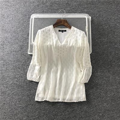 欧美单 夏季新款大码女装 3D泡泡绣花纹蕾丝拼接 上衣衬衫