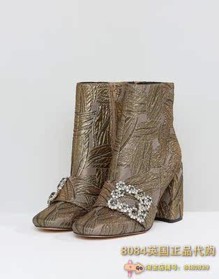 8084英国代购 ASOS ELANA华丽的高跟短靴 踝靴 靴子 女鞋10月新款