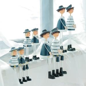 海军一家四口吊脚娃娃摆件木质地中海风格装饰品创意家居饰品摆设