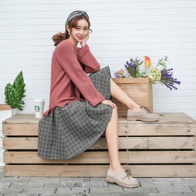 2017秋冬季新款韩版百搭女学生毛呢格子半身裙子高腰加厚中长款