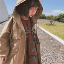 中性男童女童装2018秋装新款韩国儿童腔调薄款连帽中长款风衣外套