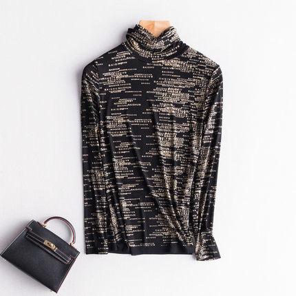 网纱高领打底衫女长袖秋冬装2017新款韩版大码上衣堆堆领内搭T恤