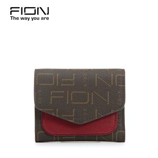 Fion/菲安妮新款钱包女短款 多功能零钱硬币包3折钱夹子手拿银包