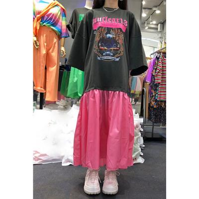 韩国东大门 2019夏季新款女装 图案印花字母拼接撞色短袖连衣裙