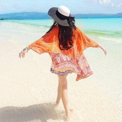 泰国三亚沙滩外搭中长款和服雪纺开衫防晒衣女夏新款宽松薄款外套