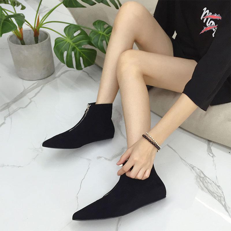2019ins超火秋冬新款前拉链短靴女磨砂裸靴尖头平底短筒及裸靴