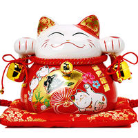 Lucky Cat Decoration Creative Japanese Ceramics Fortune Cat Piggy Bank Living Room Store Opening Business Prosperity Gift