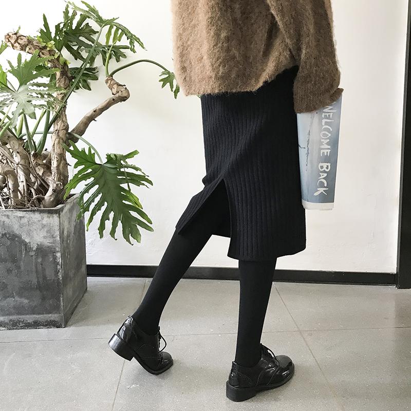 毛线裙子中长款显瘦