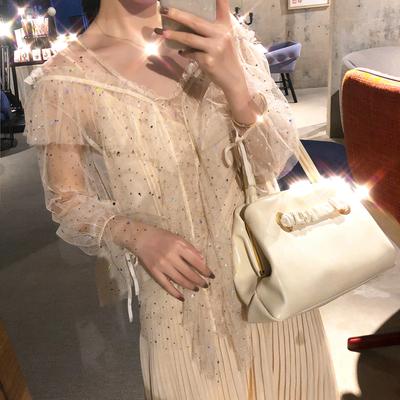 韩国ulzzang2018春夏新款长袖气质透视V领蕾丝上衣小吊带两件套