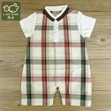 拉比正品 夏装新款婴儿哈衣绅士运动反领连体短袖衣S15401透气