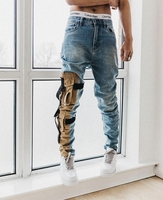 INS拆解工装口袋做旧VALKRISTOPHER小脚男潮修身弹力战术服牛仔裤