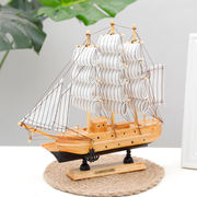 Sail sailing model decoration Mediterranean style ornament decoration creative solid wood small wooden boat crafts