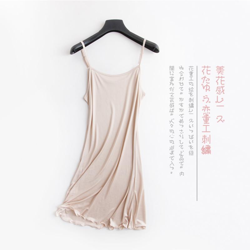 高端桑蚕丝针织真丝吊带裙真丝衬裙真丝打底裙真丝长睡裙肩带可调