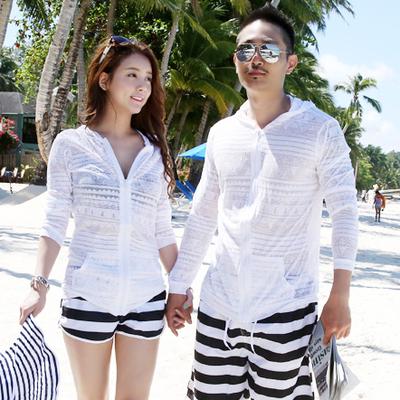 韩国情侣沙滩外套泳装沙滩衣游泳衣外搭比基尼罩衫镂空长袖防晒衣