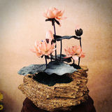 Tea Art Decoration Chinese Style Zen Ancient Style Artificial Flower Lotus Decoration Zen Tea Shop Decoration Retro Creative Tea House