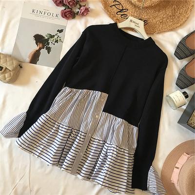 陈米米 18年秋季新款时髦女装 不规则裙摆针织衫拼接条纹衬衫上衣