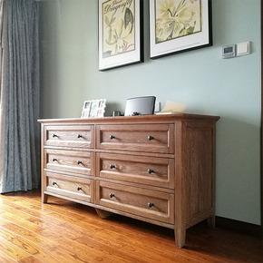 木朵朵家具全纯原木美式六斗柜田园地中海乡村全屋定制卧室电视柜