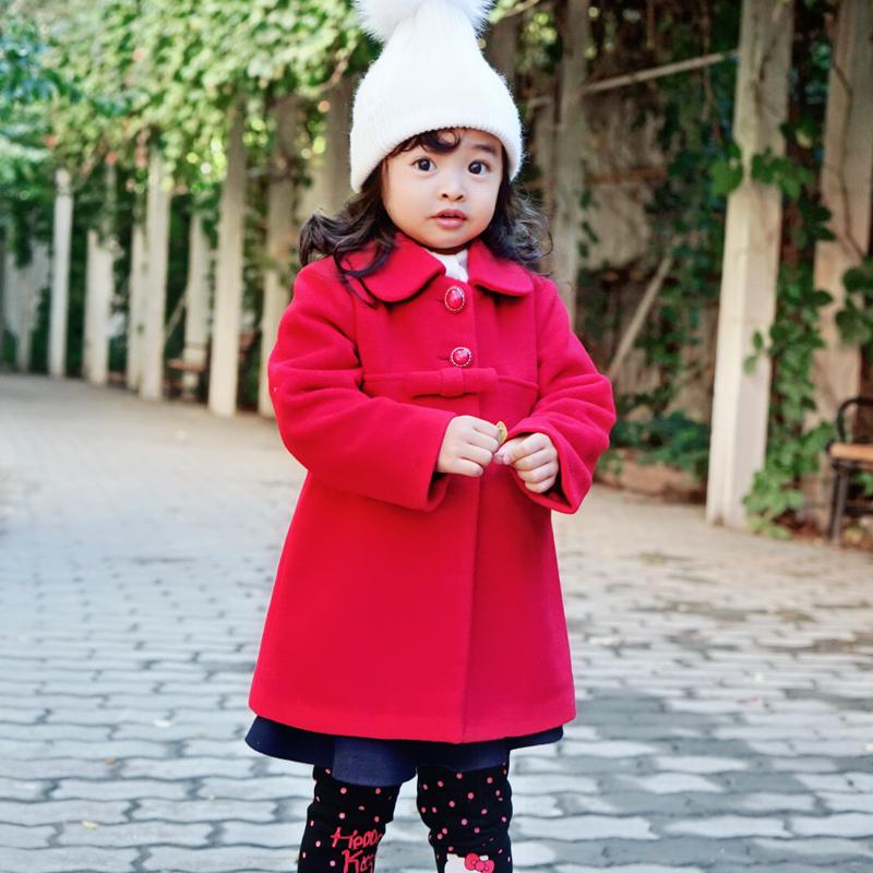 2018秋冬装新款女童装洋气羊毛呢子大衣儿童女宝宝秋装长外套红绿