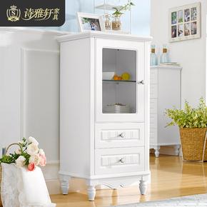 诗雅轩 田园单门玻璃小酒柜实木玄关柜客厅展示柜家具装饰柜7192