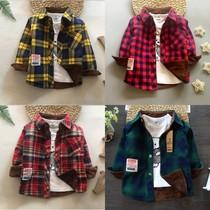 婴儿童保暖衬衣外套加厚女宝宝春秋冬款中小童装男童加绒格子衬衫