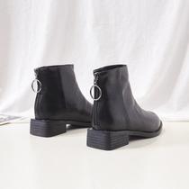 秋季新款瘦瘦短靴女英伦风百搭短圆头弹力蝴蝶结马丁靴2018过膝靴