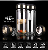 Genuine Vientiane double-glazed will carry the lid filter leak-proof cup of tea water separation cup V33GL
