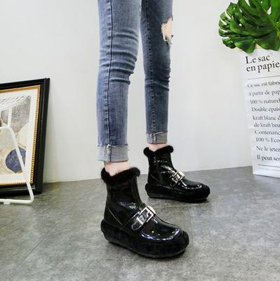 韩版冬季小白女鞋漆皮羊羔毛毛鞋水貂毛加绒雪地棉靴短靴厚底松糕