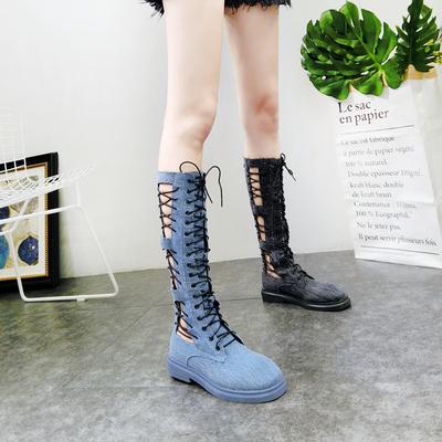 欧洲站新款牛仔布交叉弹力靴镂空长靴马丁靴机车靴前系带网红女鞋