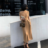 ADA MISS收腰针织连衣裙女春2018新款修身长款长袖气质长裙夏短袖